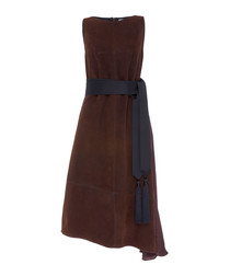 Brown pure suede sleeveless dress
