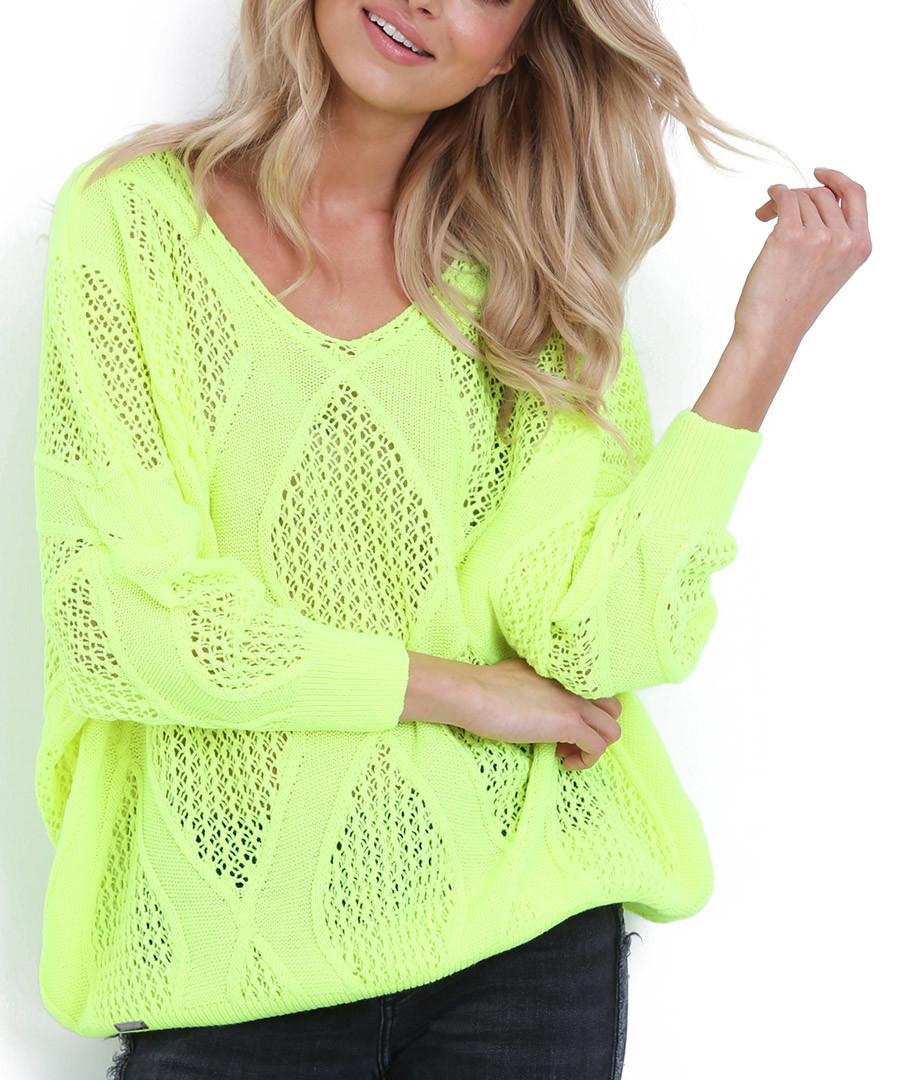 Lime large diamond knit jumper Sale - fobya
