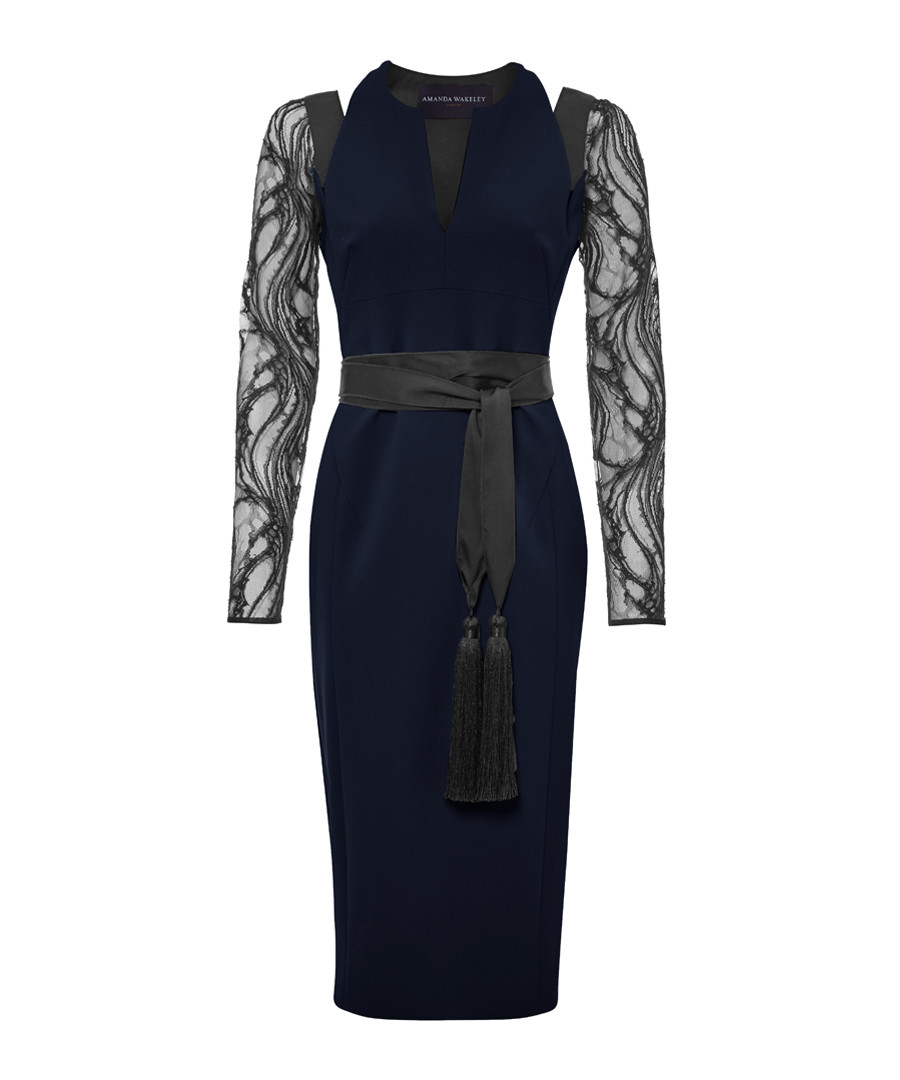 Midnight lace sleeve contour dress Sale - Amanda Wakeley