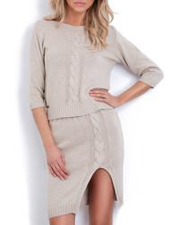 2pc Beige cable knit outfit set