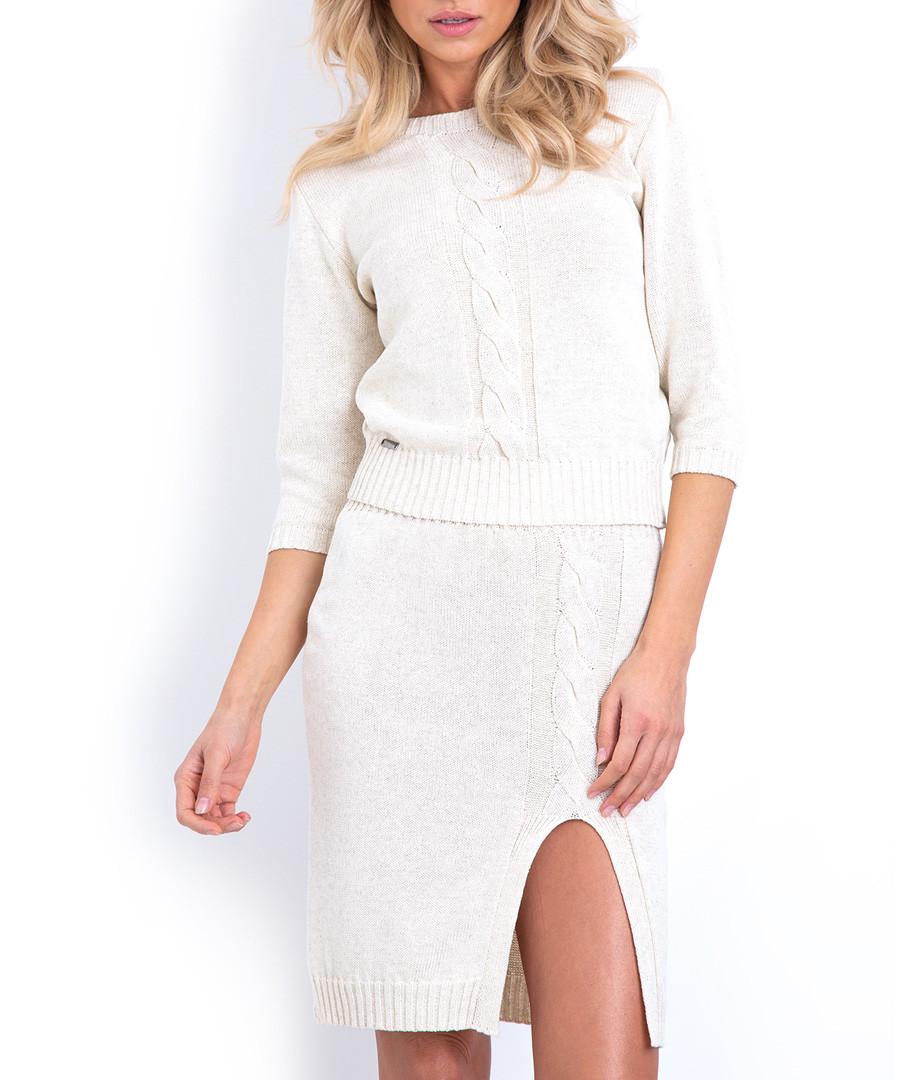 2pc Ecru cable knit outfit set Sale - fobya