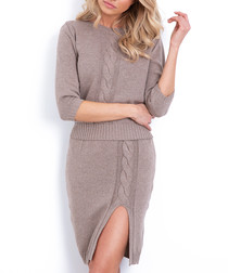2pc Mocha cable knit outfit set