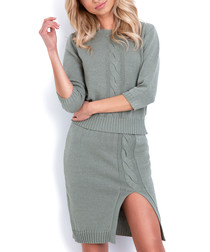 2pc Olive cable knit outfit set