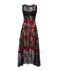 Black cotton blend lace panel dress