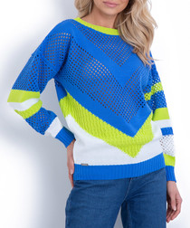 Blue & lime contrast jumper