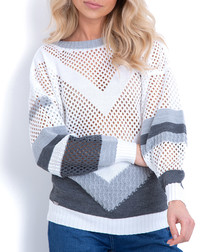 White & grey contrast jumper