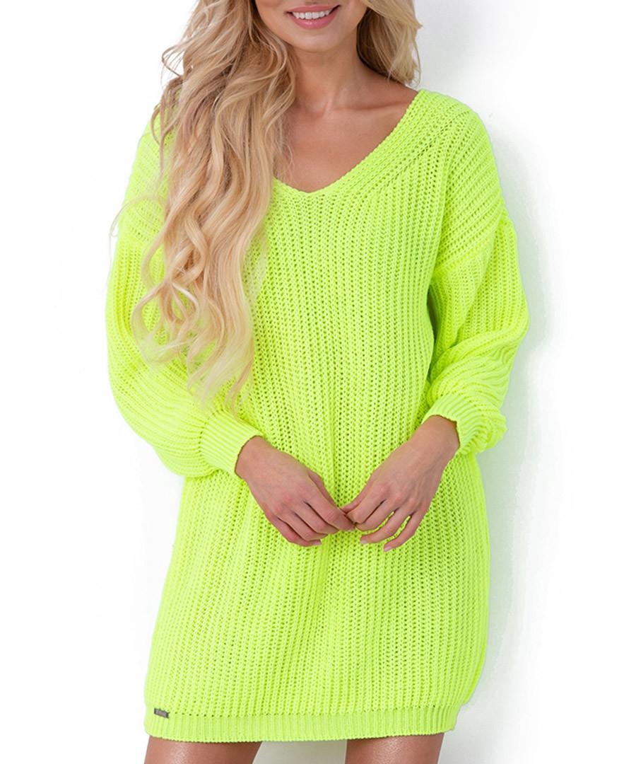 Lime oversized jumper dress Sale - fobya