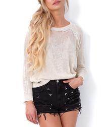 Ecru cotton blend jumper