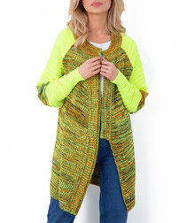Lime melange knit cardigan