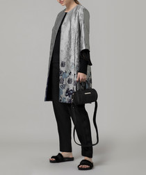 Cloque grey silk blend jacquard coat