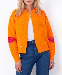 Orange ribbed knit cardigan