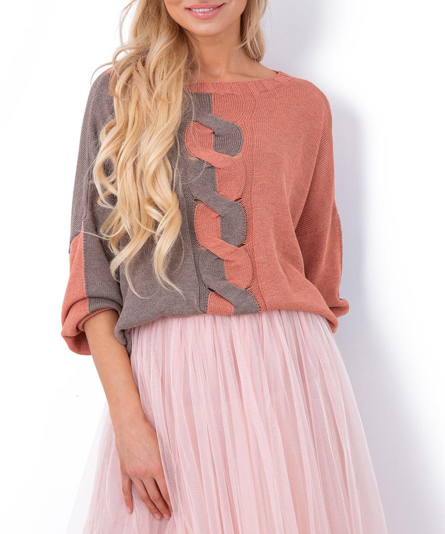 Apricot & grey colour block jumper Sale - fobya