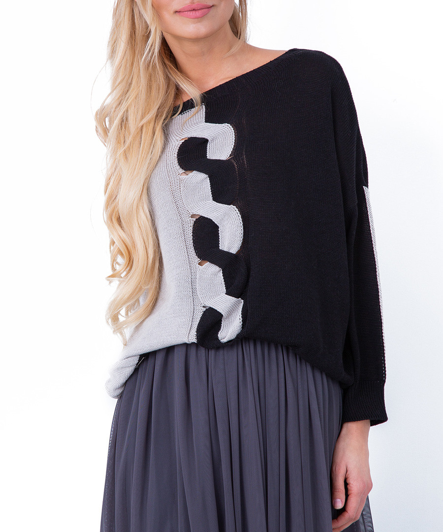 Black colour block jumper Sale - fobya