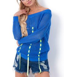 Blue mesh bardot neck blouse