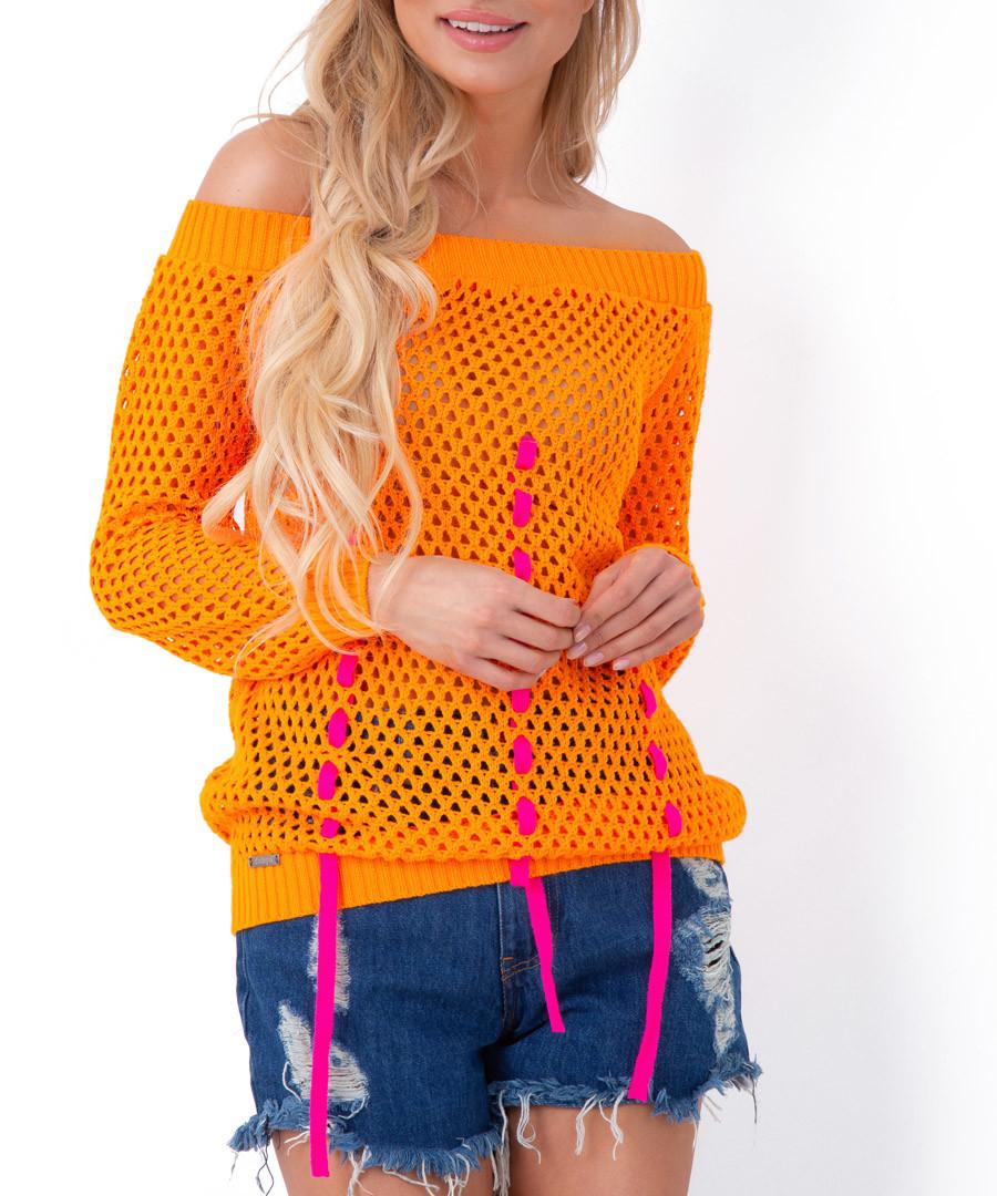 Orange mesh bardot neck blouse Sale - Fobya