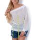 White mesh bardot neck blouse Sale - fobya Sale