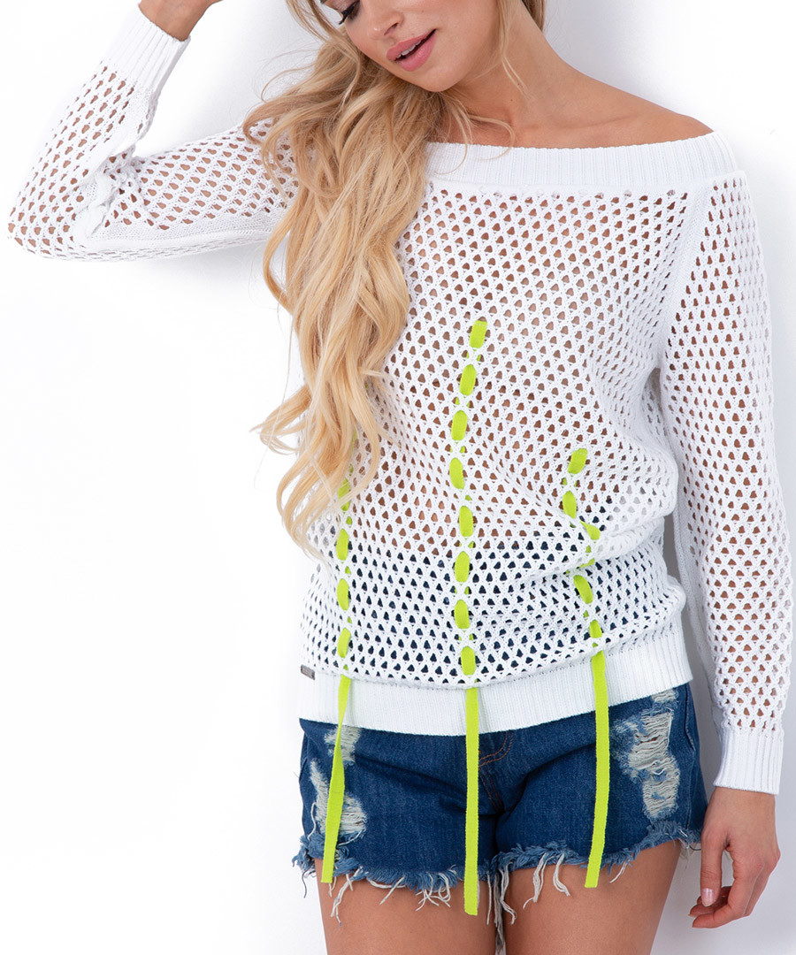 White mesh bardot neck blouse Sale - fobya