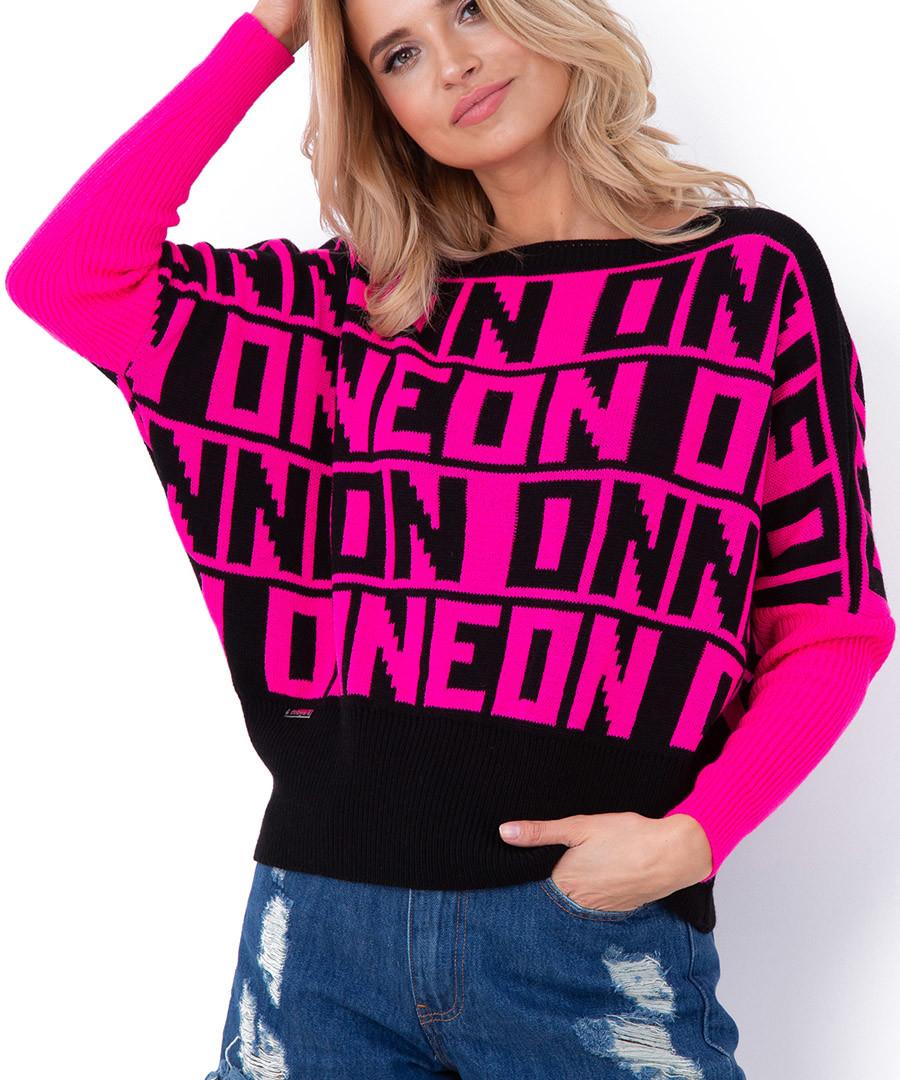Hot pink Neon print jumper Sale - fobya
