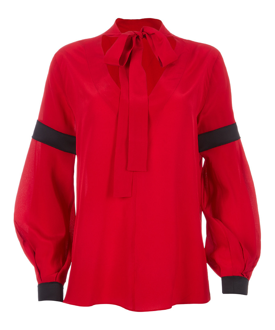 Red pure silk pussybow top Sale - Amanda Wakeley