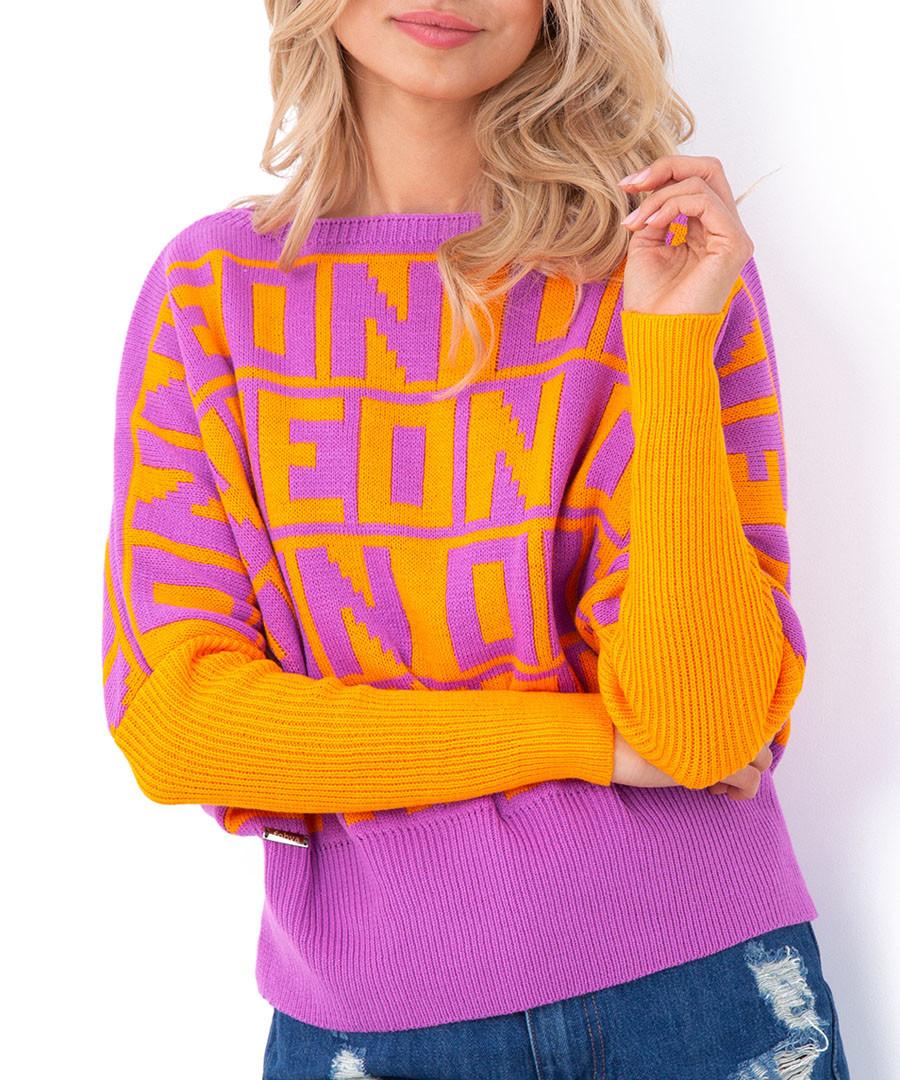 Orange Neon print jumper Sale - fobya