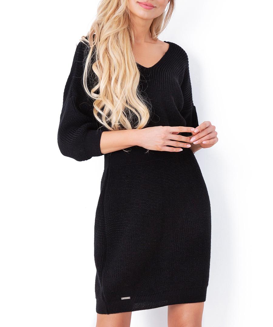 Black cinched waist jumper dress Sale - fobya