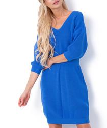 Blue cinched waist jumper dress