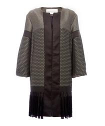 Geometric black tiled coat