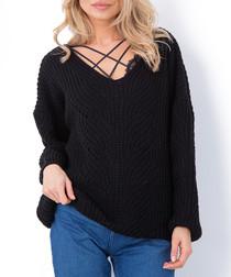 Black wool blend criss-cross jumper