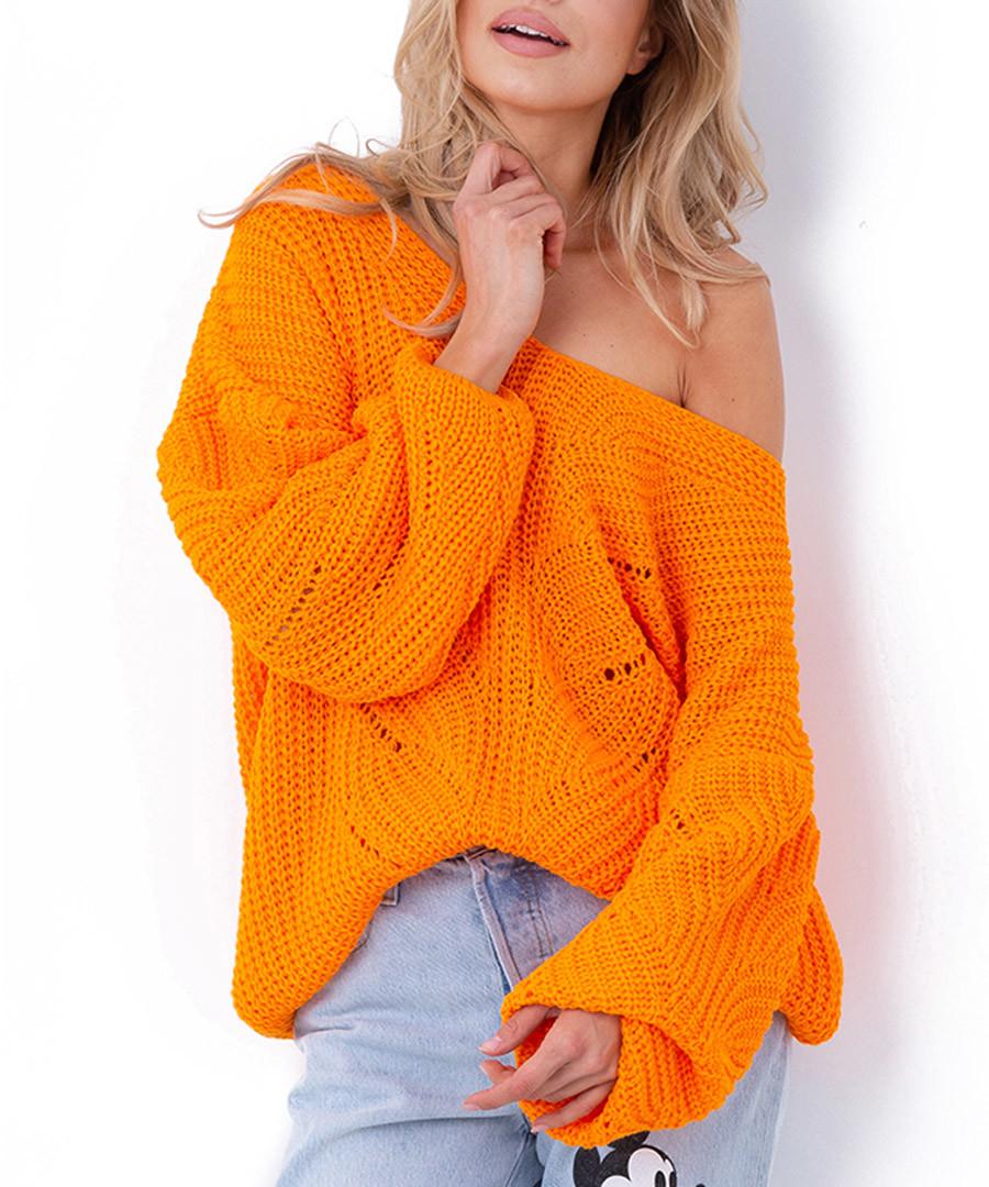 Orange off-the-shoulder jumper Sale - fobya