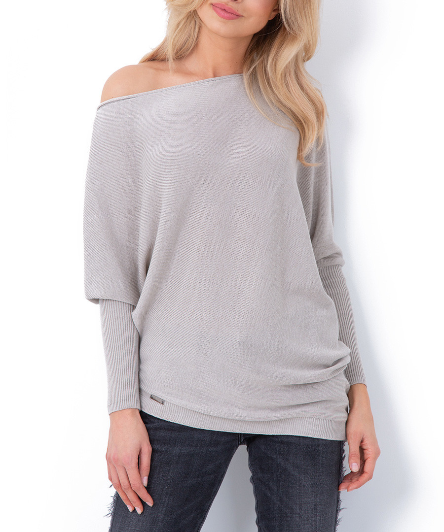 Beige off-the-shoulder jumper Sale - fobya