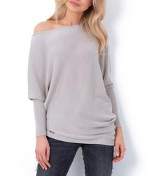 Beige off-the-shoulder jumper