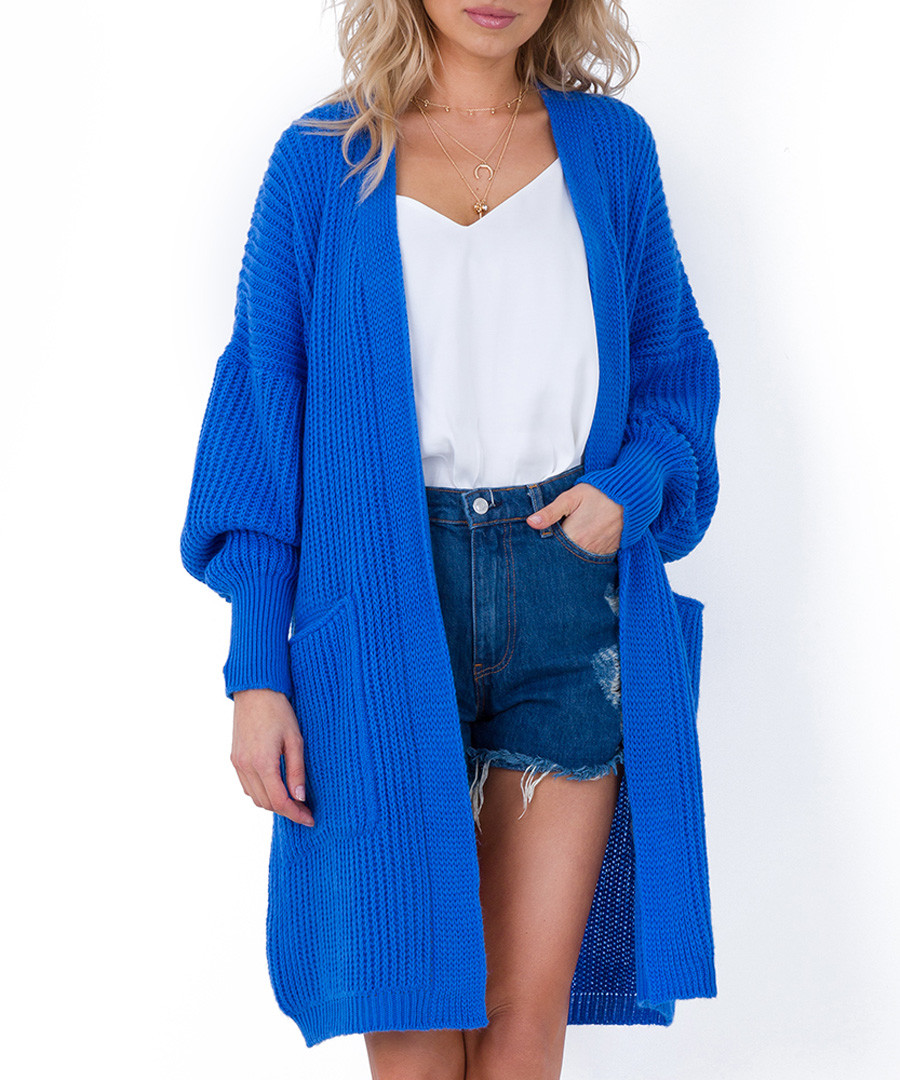 Blue oversized longline cardigan Sale - fobya