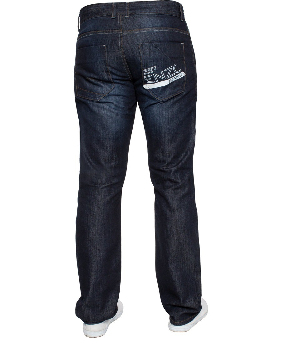 Dark Blue Regular Fit Print Jeans Sale - Enzo