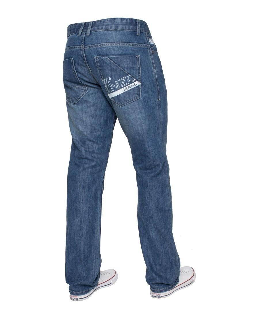Blue Regular Fit Print Jeans Sale - Enzo