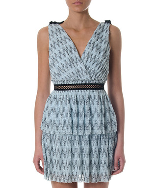 af2589ef3f58 pale blue tile tiered dress Sale - self portrait Sale