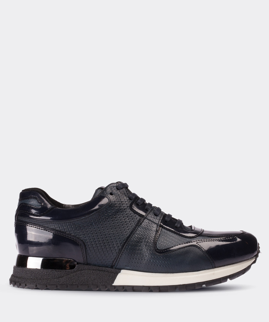 Navy patent leather panel sneakers Sale - deery man