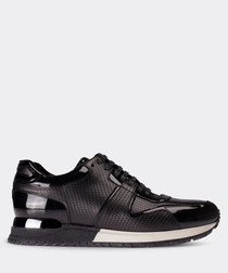 Black patent leather panel sneakers