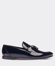Navy patent leather tassel loafers