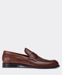Dark tobacco leather loafers