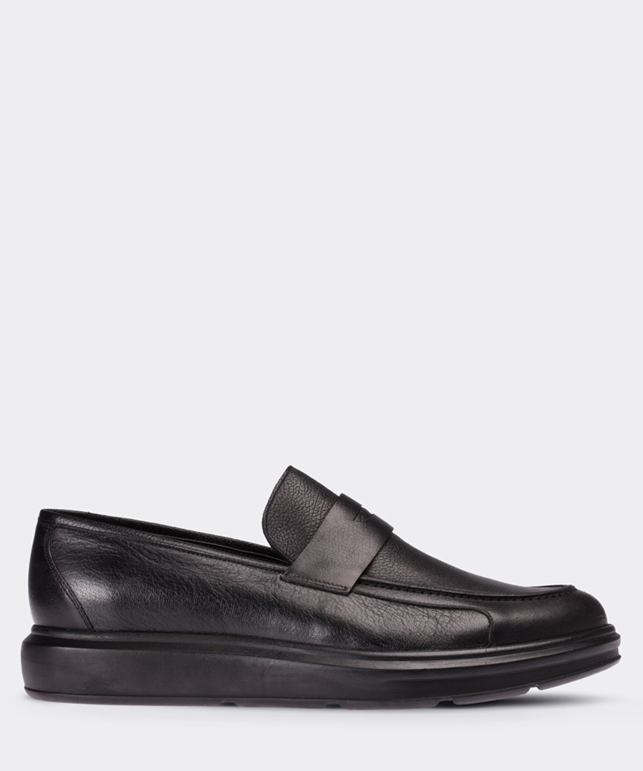 Black leather chunky sole loafers Sale - deery man