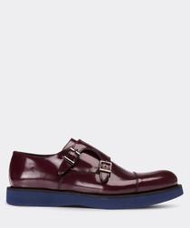 Burgundy double monkstrap shoes