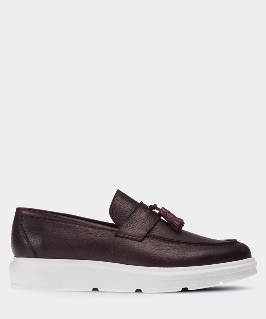 Burgundy leather platform tassel loafers Sale - deery man