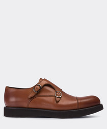 Tobacco leather double monkstrap shoes