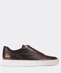 Brown moc-croc leather sneakers