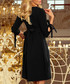 Black bow sleeve shift dress Sale - numoco Sale