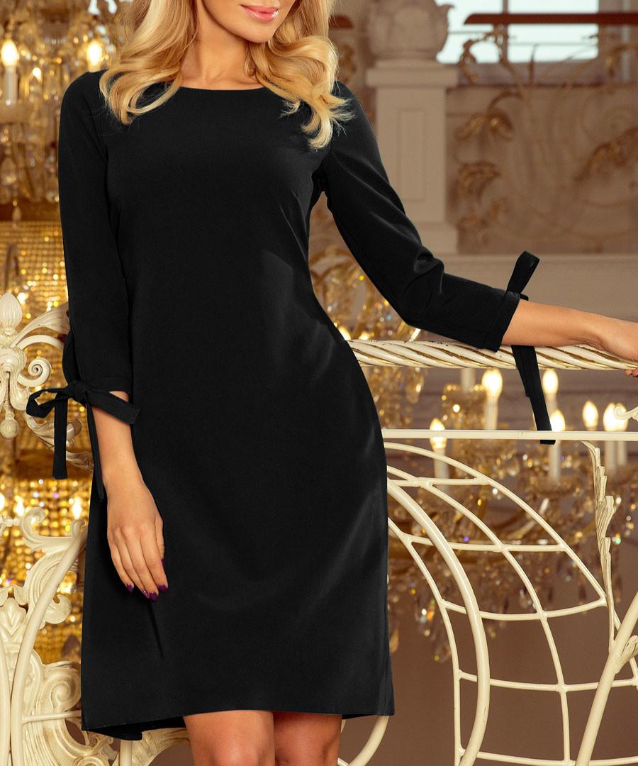Black bow sleeve shift dress Sale - numoco