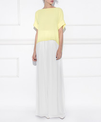 Yellow pleated back T-shirt