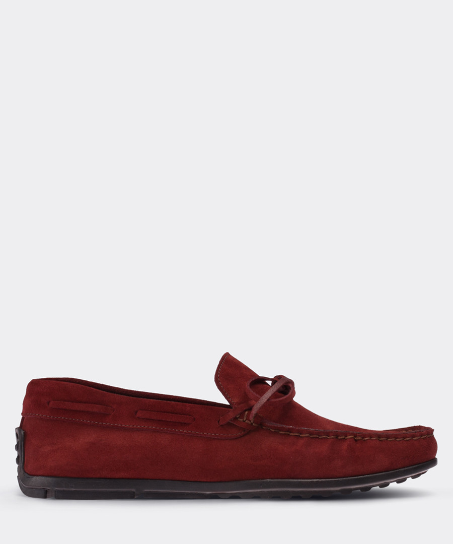 real suede burgundy loafer man shoe Sale - deery man