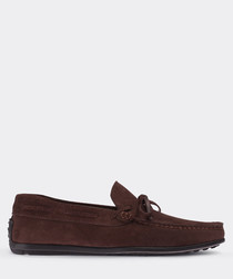 real suede brown loafer man shoe