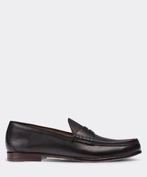 real leather black man loafer